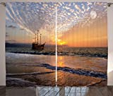 Ambesonne Nautical Curtains, Pirate Ship Sailing in Waves Fantasy in the Sea Horizon Moon Sky Surreal Scenery, Living Room Bedroom Window Drapes 2 Panel Set, 108 W X 63 L Inches, Multicolor Review