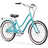 "sixthreezero EVRYjourney Women's 3-Speed Step-Through Hybrid Cruiser Bicycle, Teal w/Black Seat/Grips, 26"" Wheels/ 17.5"" Frame"