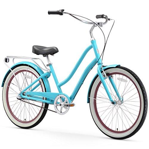 sixthreezero EVRYjourney Women's 3-Speed Step-Through Hybrid Cruiser Bicycle, Teal w/Black Seat/Grips, 26