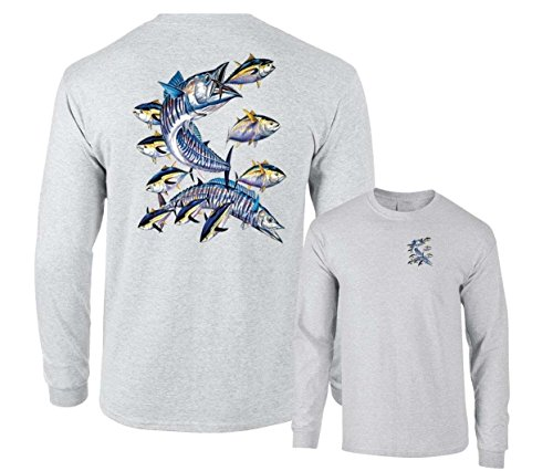 Wahoo Fish Albacore Yellowfin Tuna Fishing Long Sleeve T-Shirt, Ash Grey, XL - Sea Albacore