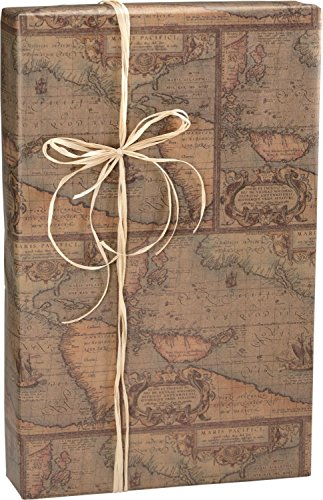 World Map/Kraft Gift Wrap, 24'' x 100' (1 roll) - BOWS-E-5003C by Miller Supply Inc