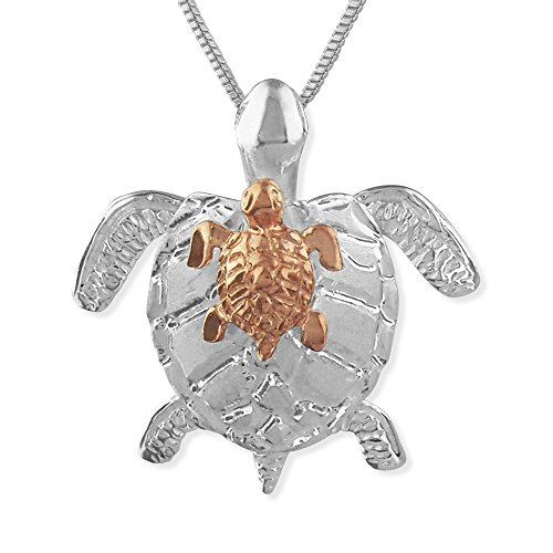 Sterling Silver with 14kt Rose Gold Plated Accents Mother and Baby Turtle Pendant Necklace, 16+2
