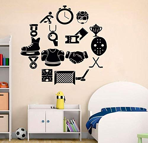 Price comparison product image Sports Decals Wall Art Decor - Ice Hockey Decor for Boys Kids Nursery Living Room Bedroom - Vinyl Stickers Decoration Inspirational Motivational Quotes Sayings SP432