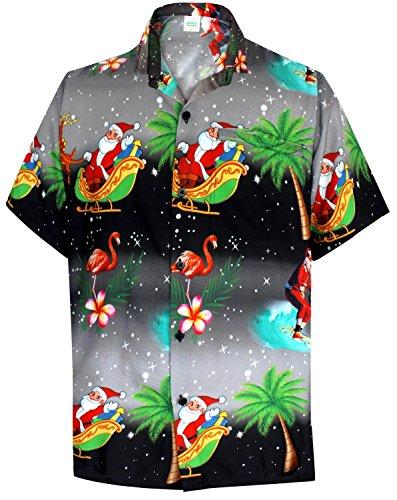 LA LEELA Christmas Camp Matching hawaiian shirt and dresses mens 70s 80s 90s retro Vintage Island Men's Hawaiian Shirt XS (Mens 80s Dress)