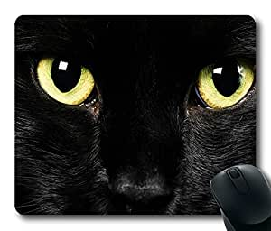 Personalized Unique Design Oblong Shaped Mouse Pad Black Cat Face by runtopwell