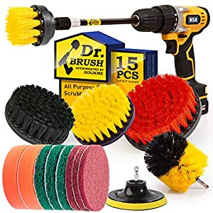 Best Epic Trends 51q88Mkx1LL._SS300_ Holikme 20Piece Drill Brush Attachments Set, Scrub Pads & Sponge, Buffing Pads, Power Scrubber Brush with Extend Long…
