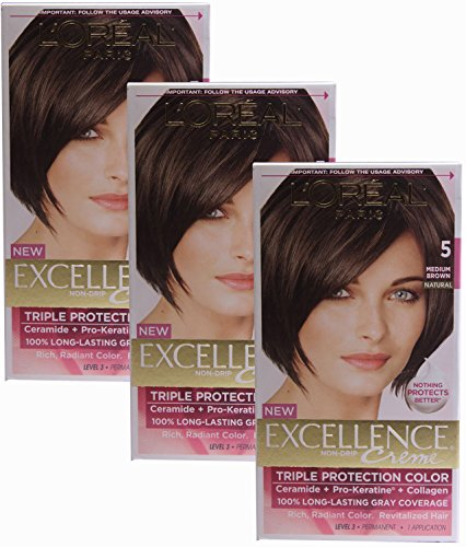 L'oreal Paris Excellence, Permanent Hair Color, Medium Brown 5 (Pack of (Loreal Excellence Creme Triple Protection)