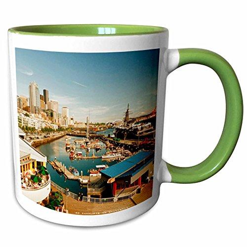 3dRose Danita Delimont - Seattle - USA, Washington, Seattle, Bell Street Pier - US48 RDU0473 - Richard Duval - 11oz Two-Tone Green Mug (mug_148496_7)