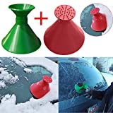 Snow Removal Car Ice Scraper, Magic Cone-Shaped Windshield Snow Shovel (2PCS Red+Green)