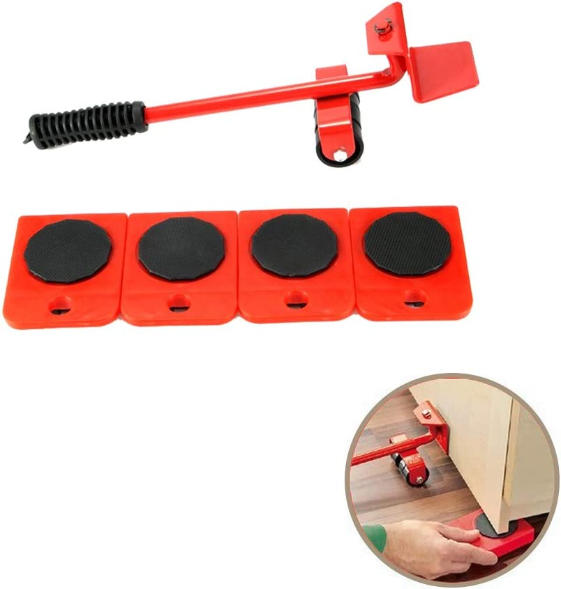 Onerbuy Furniture Lifter with 4 Pack Moving Sliders Heavy Furniture Roller Move Tools Max Up for 150KG/330 LB, 360 Degree Rotatable Pads (Red)