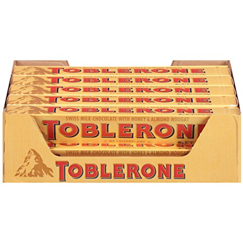 Price comparison product image Toblerone Swiss Milk Chocolate with Honey & Almond Nougat,  3.52 Oz Bar,  20 Count
