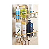 Vintage Bronze Storage Rack with Net Bin,Cabinet Organizer and Storage Wall Mount Racks Shelves with 4 Hooks for Bathroom Kitchen Living room Bedroom Study room Office