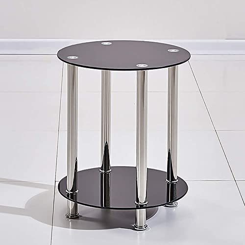 4HOMART Round End Table Glass Side Table with Storage Shelves Desk Sofa Tables with Metal Structure for Home Office Living Room Small Space