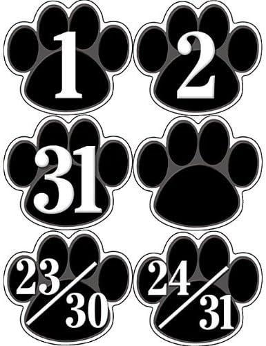 5232 Teacher Created Resources Black Paw Prints Calendar Days by Teacher Created Resources