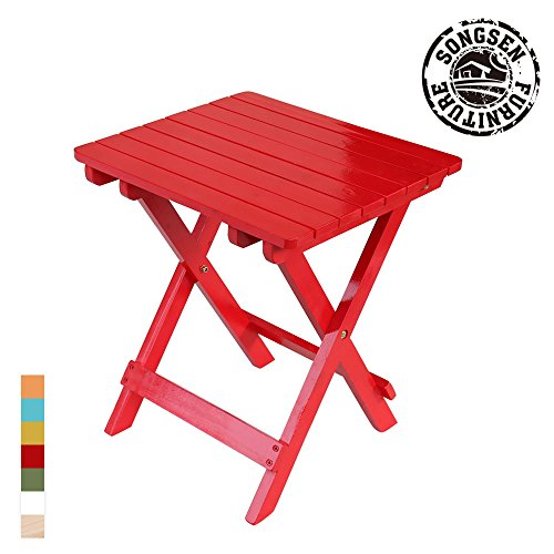 Songsen Fashion Outdoor Wood adirondack Fold Side Table Patio Deck Garden Furniture (Adult,Red)