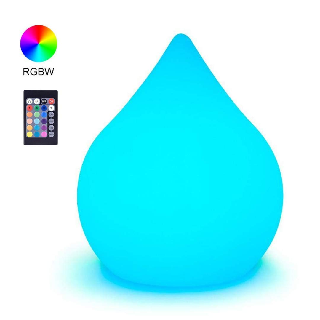 LOFTEK LED Mood Light with Waterdrop Shape RGB Night Lights for Kids,16 Colors Light with Remote Control, Home Decoration Mood Lamp, UL Listed Adapter, IP65 Protection Grade and Rechargeable Battery
