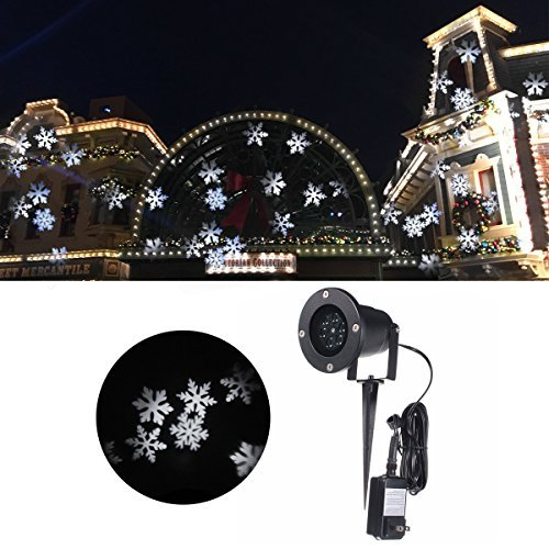 Jeteven Christmas Projector Lights, Waterproof White Snowflake LED Light Outdoor for Xmas Holiday Party Landscape Patio Lawn Stage Show Decoration