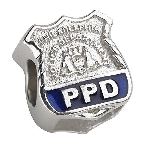 Philadelphia Police Charm (PPD) - Silver Charm - Fits Pandora Bracelet (Silver Enamel Shield Charm)