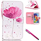 3d jelly cases for galaxy s5 - Galaxy S5 mini Case, Firefish [Kickstand] [Shock Absorbent] Double Protective Case Flip Folio Slim Magnetic Cover with Wrist Strap for Samsung Galaxy S5 mini (SM-G800)-Flower