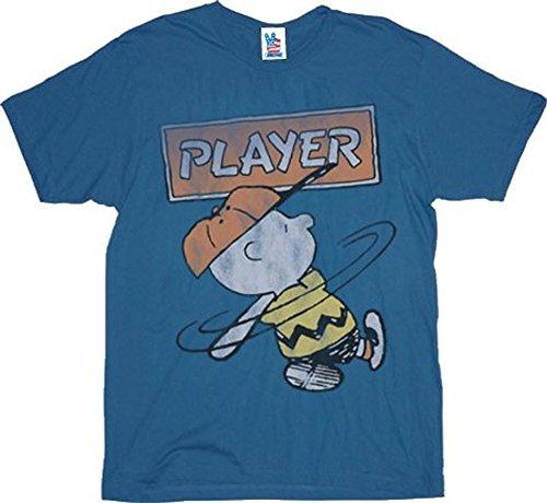 Mens Food Junk Peanuts - Junk Food Peanuts Charlie Brown Player Blue T-Shirt Tee
