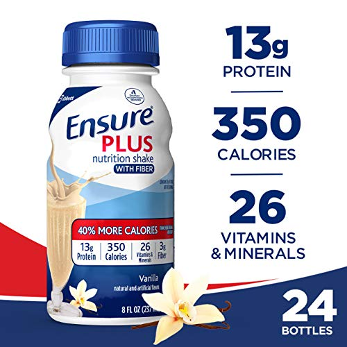 (Ensure Plus Nutrition Shake with Fiber, 13g High-Quality Protein, Meal Replacement Shakes, Vanilla, 8 fl oz, 24)