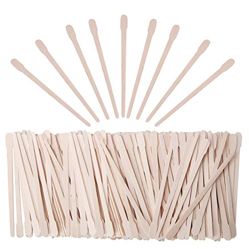 Senkary 600 Pieces Wooden Waxing Sticks Wax Sticks Wax Applicator Sticks Wood Wax Spatulas Sticks Small for Hair Eyebrow Nose Removal (With ()