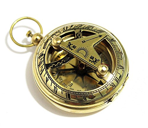 Brass Yellow Necklace - Brass Push Button Direction Sundial Compass - Pocket Sundial Compass