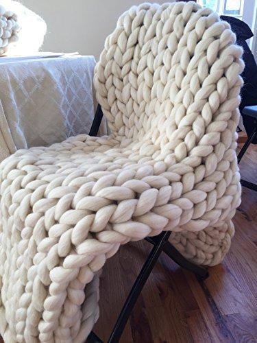 Amazon Extra Large Chunky Knit Throw Heavy Warm Knitted Ivory Enchanting Cream Chunky Throw Blanket