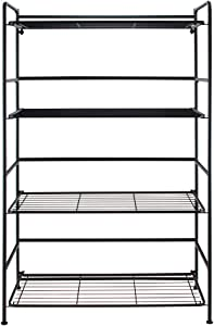 Flipshelf Folding Metal Bookcase-Small Space Solution-No Assembly-Home, Kitchen, Bathroom and Office Black, 4 Shelves, Wide