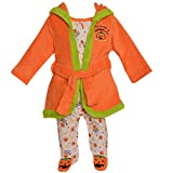 One Potato 2 Baby Boys Girls Orange Pumpkin Halloween Robe Footed Pajamas 6-9M