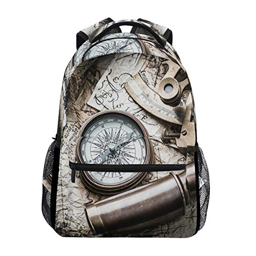 (XLING Backpacks Vintage World Map Compass Spyglass Multi Function College Canvas Book Bag Travel Hiking Camping Canvas Daypack)