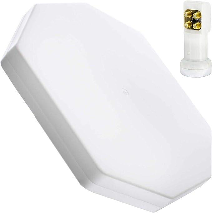 PremiumX FLAT50 - Antena plana para satélite (4 puertos, LNB ...