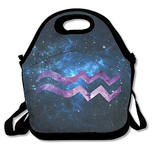 Dozili Starry Sky Aquarius Large & Thick Neoprene Lunch Bags Insulated Lunch Tote Bags Cooler Warm Warm Pouch With Shoulder Strap For Women Teens Girls Kids Adults