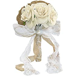 Rustic Wedding Bouquet Burlap Flower Bouquets