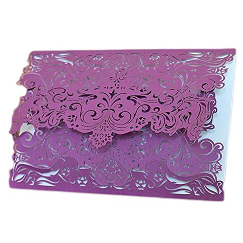 Freedi Vintage Laser Cut Invitations Cards Hollow Favors Invitation Cardstock for Wedding Baby Shower Engagement Birthday Graduation,1 Piece (Purple)