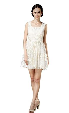 EkarLam Womens Sleeveless Loli Lady Gauze Embroidery Bubble Skirt Prom Dress Beige?US XS(
