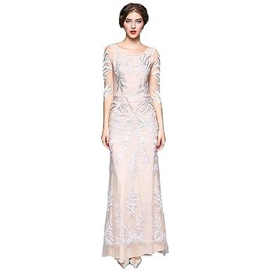 d73e553e693 DEZZAL Women s Elegant Embroidered 3 4 Sleeve Tulle Maxi Evening Prom Dress (S)