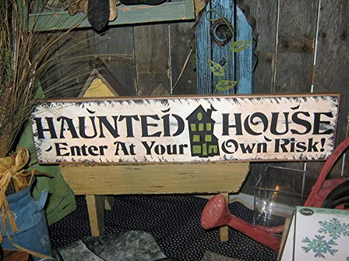 Olga212Patrick Primitive Lg Wood Spooky 24 Wood Plaque Sign Haunted House Enter at Your Own Risk Rustic Wall Art Halloween Witch Scary Ghost Vampire Country]()
