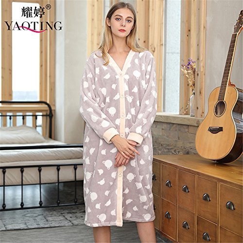Girls Robe Long Fleece Sleeved (MH-RITA New Ladies Flannel Gown Bathrobe Long Sleeved Coral Fleece Pajamas,Light Gray,M)