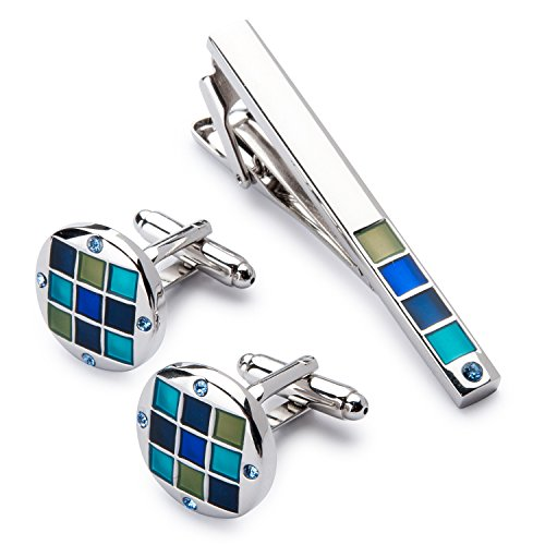 Men's Silver Polished Cufflink and Tie Clip Set in Gift Box -Personalized Men's Cufflink Gift Set Photo #9