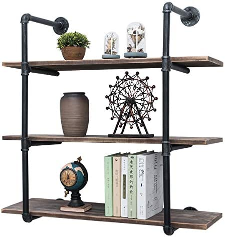 Hanging Wall Shelf-Open Shelving-Modern Wall Shelf-Custom Shelves-Kitchen Shelving-Modern Shelf-Wood Kitchen Shelf-Wood Pip Shelves