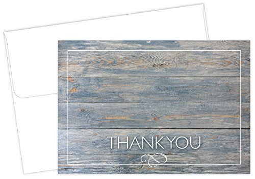 Drift Wood Thank You Note Cards - 50 Cards & Envelopes