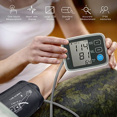 Amazon.com: Blood Pressure Monitor, HYLOGY Digital Automatic Upper Arm BP Monitor Cuff 8.7 to 12.6 Inch, Large Screen Display and 2 Users Mode 2 * 90 Memory ...