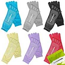Bundle Monster 6 Pairs Womens Anti-Slip Grip Workout Yoga Mix Color Feety Socks
