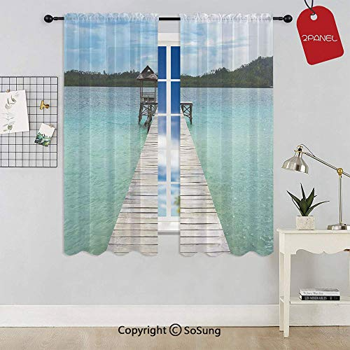 Wooden Deck in Indonesian Island with Fresh Sky and Sea Forest Exotic Dream Land View Rod Pocket Sheer Voile Window Curtain Panels for Kids Room,Kitchen,Living Room & Bedroom,2 Panels,Each 42x63 Inch, ()