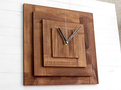 Praf XI pyramid wall wooden clock, silent movement, wall decor, square, minimal, cubic clock, walnut stain, kitchen, living room, bedroom (Square Walnut Bookcase)
