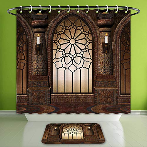 Waterproof Shower Curtain and Bath Rug Set Gothic Decor Collection Illustration of Antique Myst Gate with Oriental Islamic Pattern and Cur Bath Curtain and Doormat Suit for Bathroom 60