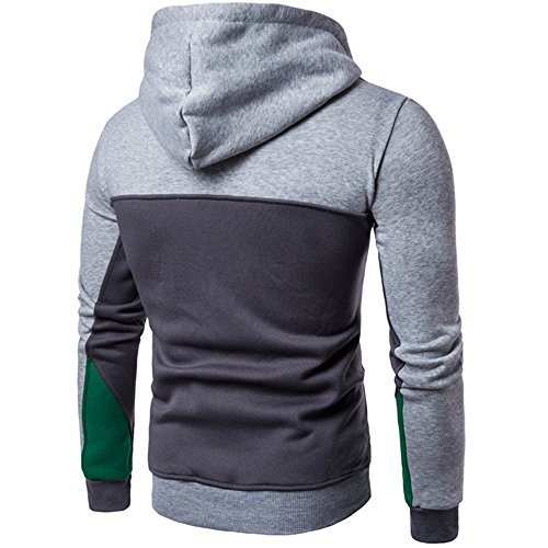 Collor Pullover Sleeve Outwear UJUNAOR Long Patchwork Gray Men Sweater Stand Coat Fashion 6aAn8OwX