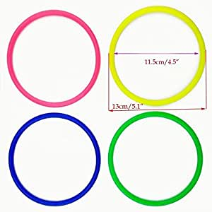 """yueton Pack of 12 Inside Diameter 11.5cm/4.5"""" Medium Size Plastic Toss Rings for Speed and Agility Practice Games"""