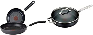 T-fal Ultimate Hard Anodized 2-Piece 10/12-Inch Cookware Set, Gray & C51782 ProGrade Titanium Nonstick Thermo-Spot with Induction Base Saute Pan Jumbo Cooker Cookware, 5-Quart, Black